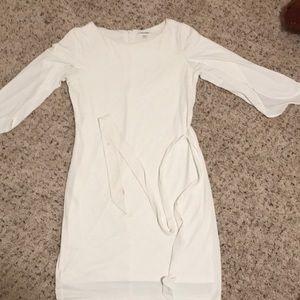 CALVIN KLEIN White drape sleeve dress